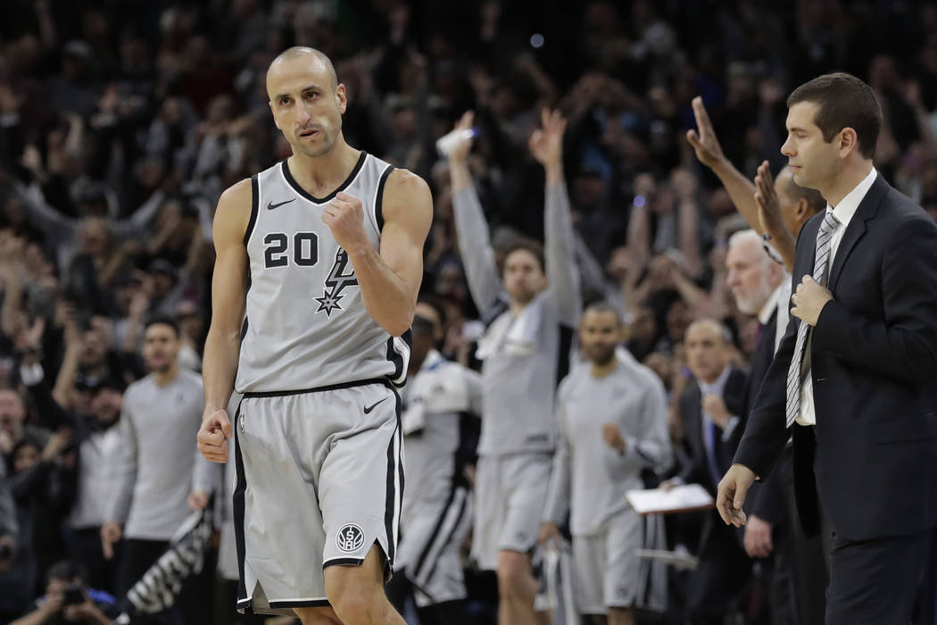 In this Dec. 8, 2017, file photo, San Antonio Spurs guard Manu Ginobili (20) pumps his fist after hitting the winning shot in the final seconds of the team's NBA basketball game against the Boston ...