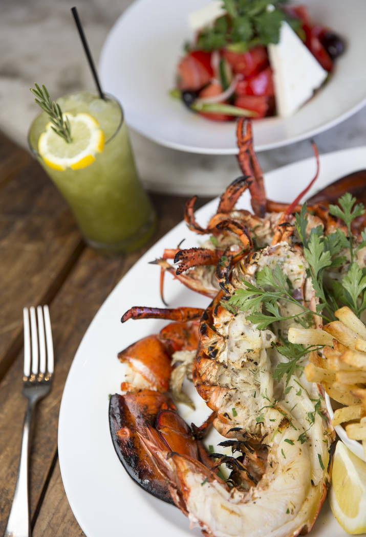 The Deep Sea Bay of Fundy with the Table 2 cocktail and The Greek Salad at Estiatorio Milos inside The Cosmopolitan of Las Vegas on Saturday, Aug. 25, 2018. Richard Brian Las Vegas Review-Journal ...