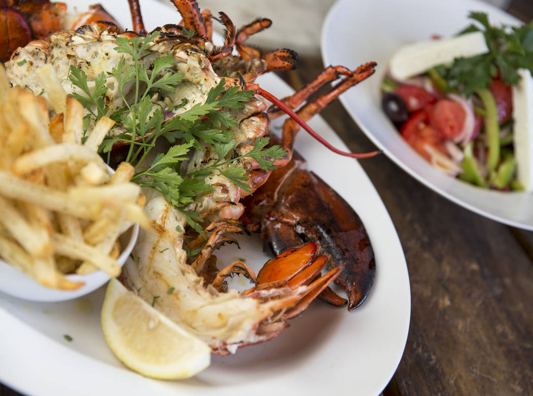 The Deep Sea Bay of Fundy, grilled lobster garnished with extra-virgin olive oil and lemon juice served with Greek fried potatoes at Estiatorio Milos inside The Cosmopolitan of Las Vegas on Saturd ...