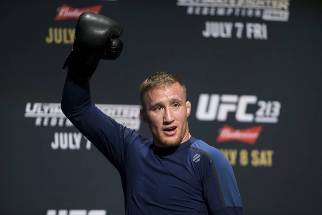 Justin Gaethje during UFC open workouts at the Park Theater inside Monte Carlo hotel-casino in Las Vegas on Wednesday, July 5, 2017. Erik Verduzco Las Vegas Review-Journal @erik_verduzco