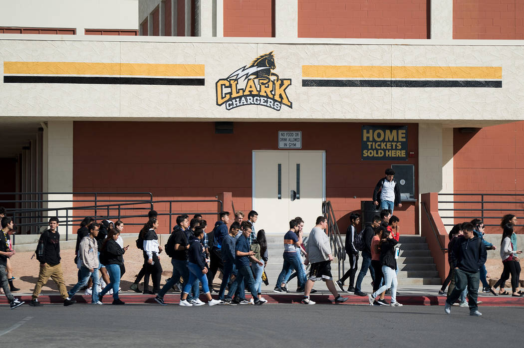 Students at Ed W. Clark High School in Las Vegas participate in the national walkout to protest gun violence on March 14, 2018. (Las Vegas Review-Journal File)