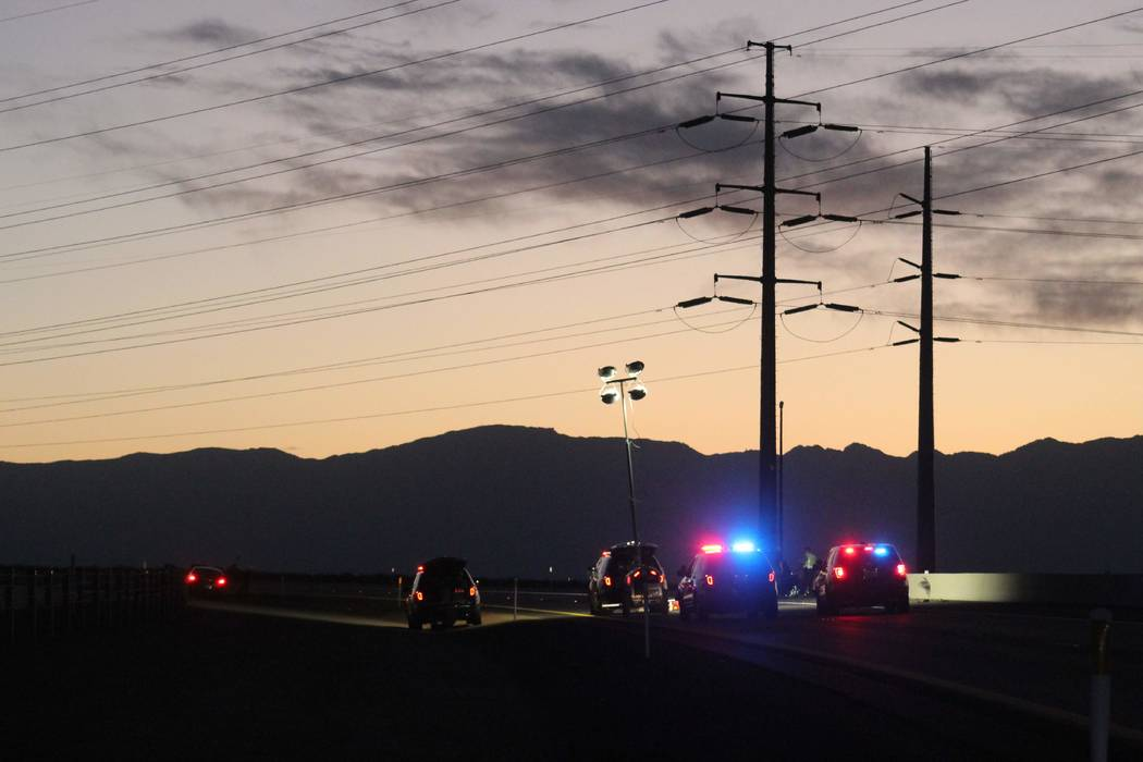 Two people were killed Tuesday, Aug. 28, 2018, when their vehicle was hit by another vehicle on Interstate 11. (Max Michor/Las Vegas Review-Journal)