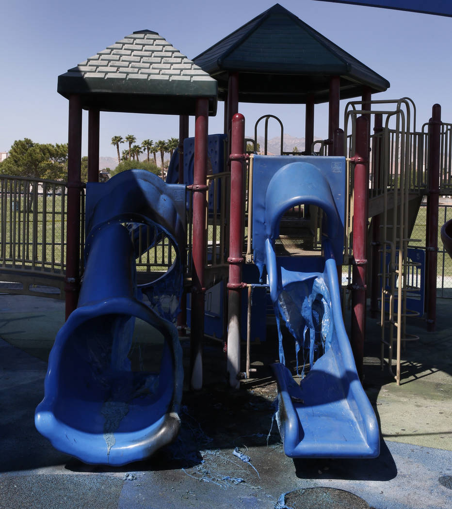 Damage can be seen on playground equipment at Bettye Wilson Soccer Complex, at West Lake Mead Boulevard and North Tenaya Way, early Tuesday, Aug. 28, 2018, in Las Vegas. (Bizuayehu Tesfaye/Las Veg ...