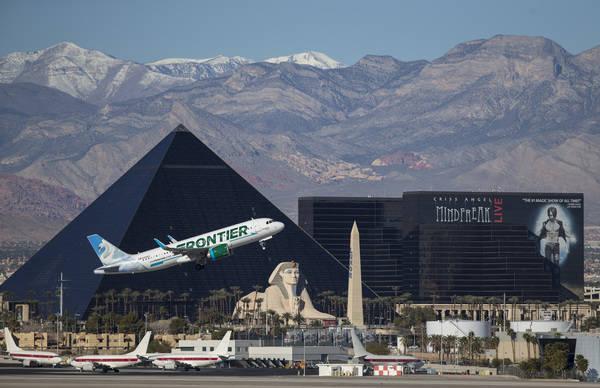 A Frontier Airlines flight departs McCarran International Airport in Las Vegas, Sunday, January 28, 2018. Richard Brian/Las Vegas Review-Journal @vegasphotograph