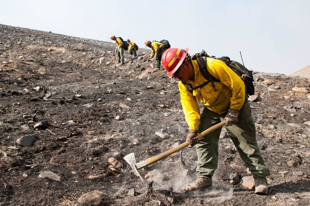 Firefighters work on the South Sugarloaf Fire in Northeastern Nevada Friday. U.S. Forest Service