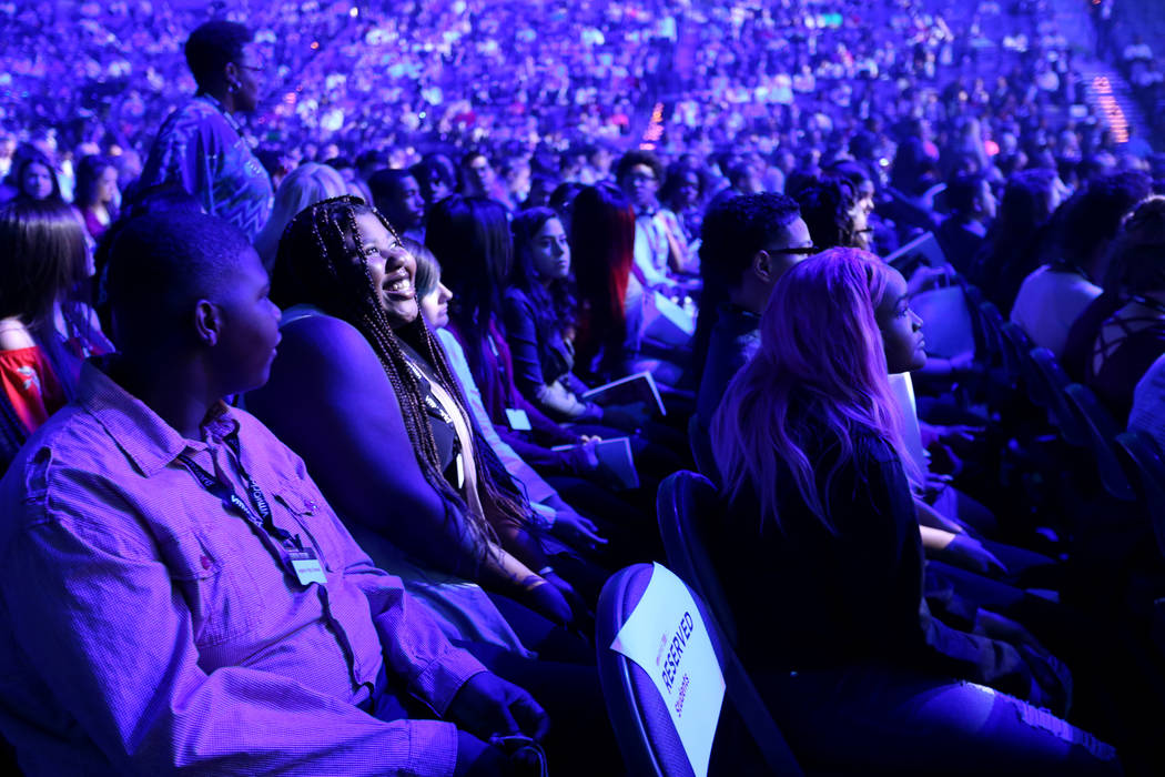 Legacy High School junior Qinyatta Whitfield, second from left, waits for Nobel Peace Prize winner Malala Yousafzai to speak at the VMworld 2018 at Mandalay Bay Tuesday, Aug. 28, 2018. K.M. Cannon ...