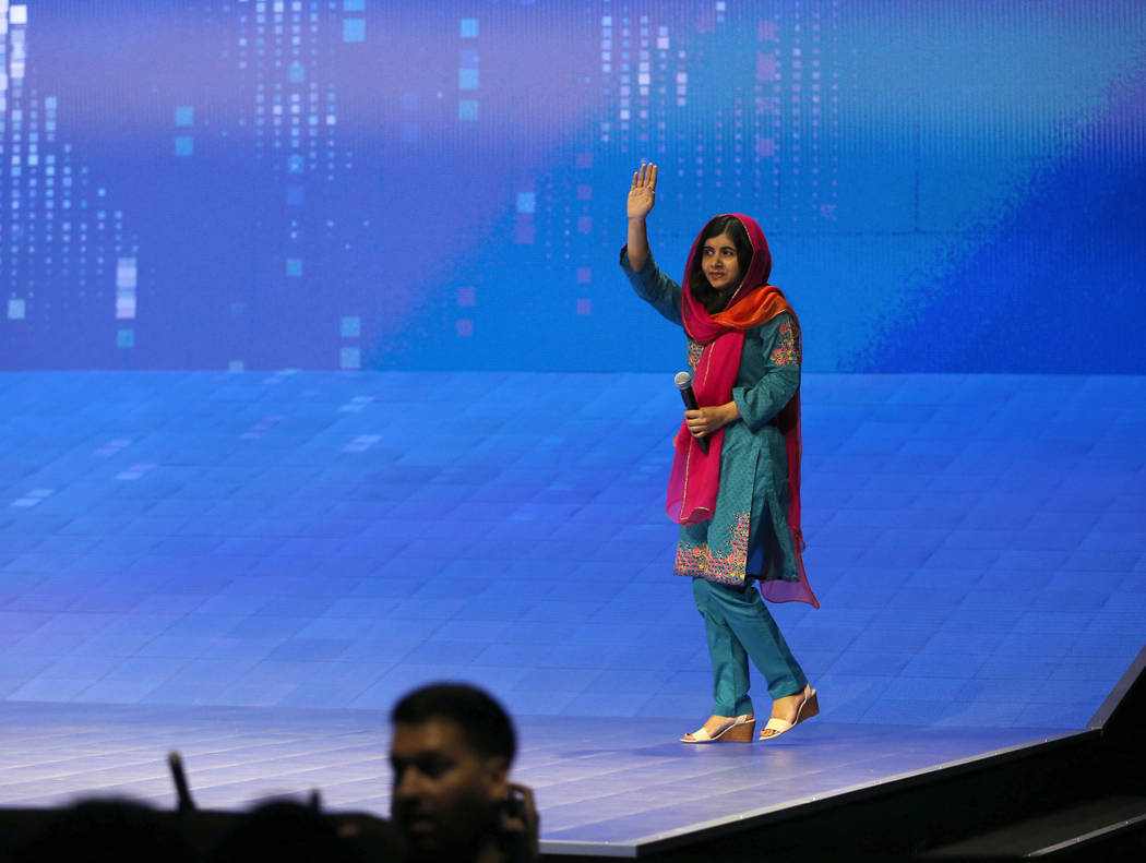 Nobel Peace Prize winner Malala Yousafzai steps on the stage at VMworld 2018 at Mandalay Bay Tuesday, Aug. 28, 2018. K.M. Cannon Las Vegas Review-Journal @KMCannonPhoto