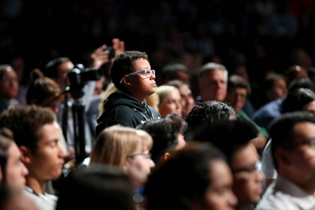 Basic High School senior Melea Cooley asks Nobel Peace Prize winner Malala Yousafzai a question at VMworld 2018 at Mandalay Bay Tuesday, Aug. 28, 2018. K.M. Cannon Las Vegas Review-Journal @KMCann ...