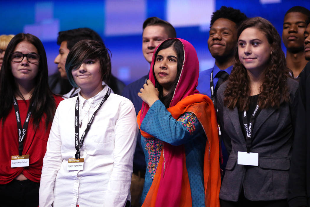 Nobel Peace Prize winner Malala Yousafzai takes a photo with students from Legacy High School at VMworld 2018 at Mandalay Bay Tuesday, Aug. 28, 2018. K.M. Cannon Las Vegas Review-Journal @KMCannon ...
