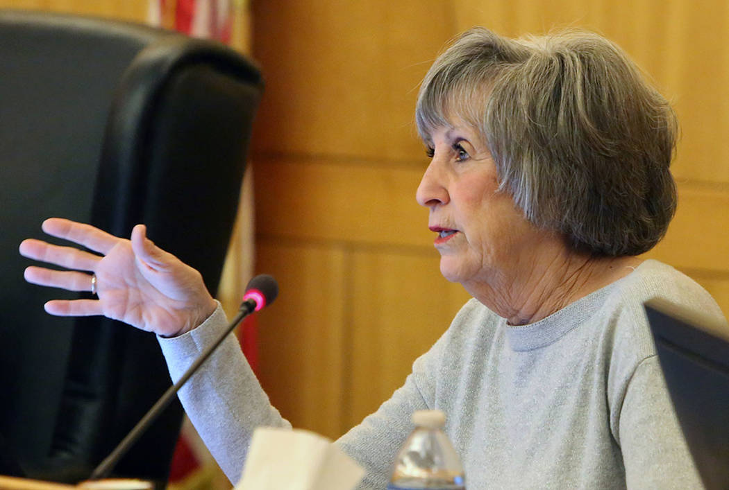 Clark County Commissioner Susan Brager speaks during a commission meeting, April 17, 2018, in Las Vegas. (Bizuayehu Tesfaye/Las Vegas Review-Journal) @bizutesfaye
