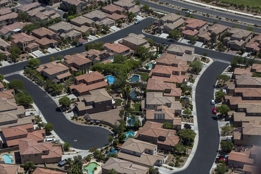 Houses in Summerlin from the a Las Vegas Metropolitan Police helicopter on Wednesday, Aug. 16, 2017. Patrick Connolly Las Vegas Review-Journal @PConnPie