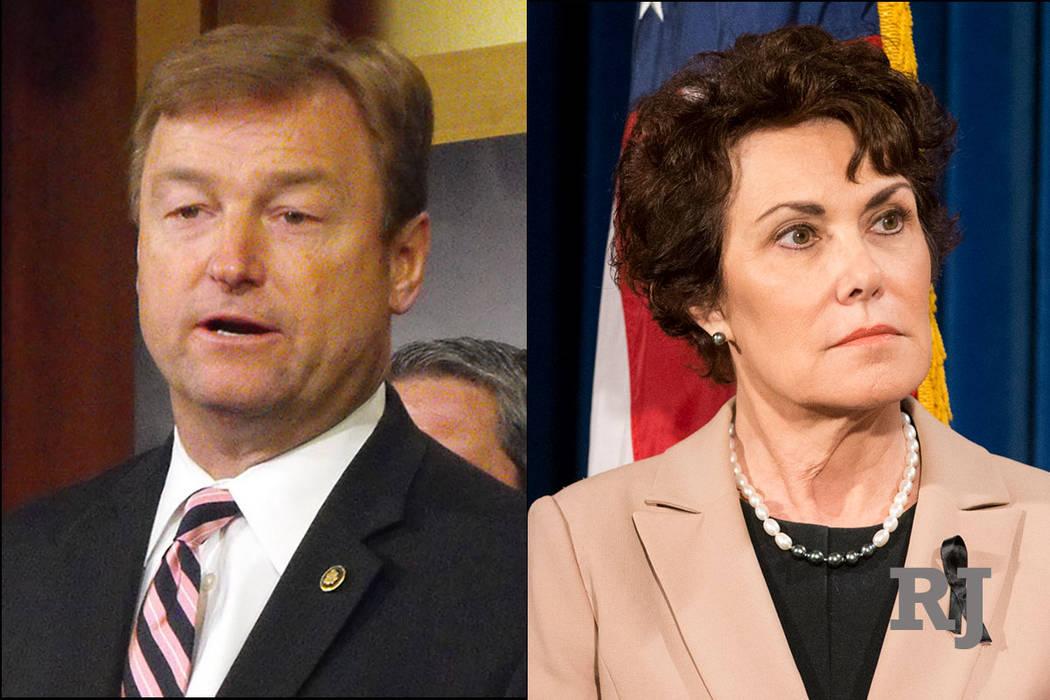 Republican U.S. Sen. Dean Heller, left, and Democratic U.S. Rep. Jacky Rosen, right. (Las Vegas Review-Journal)
