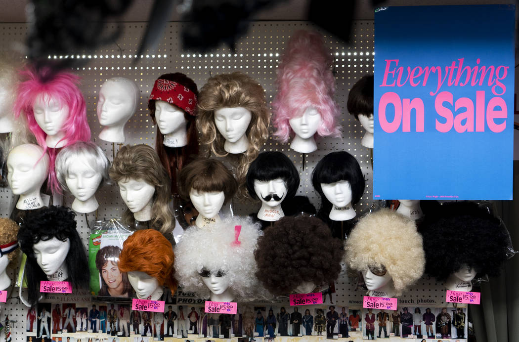 Wigs photographed at American Costumes in Las Vegas, Tuesday, Aug. 28, 2018. After 40 years of business, American Costumes will close this year. (Marcus Villagran/Las Vegas Review-Journal) @marcus ...