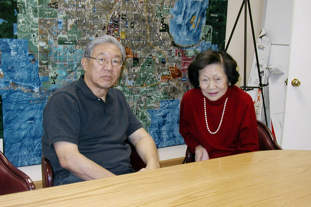 Ted and Doris Lee sit in front of a map in their Las Vegas office. (Las Vegas Review-Journal File)