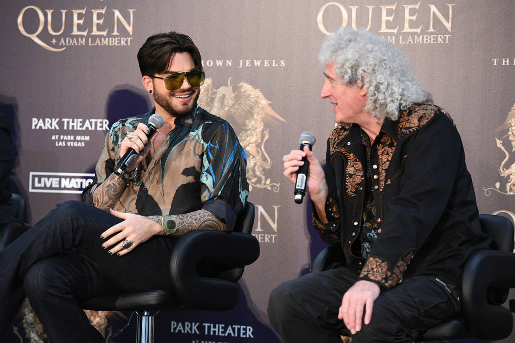"""Adam Lambert, left, and Brian May are shown at MGM Resorts Aviation Hangar in Las Vegas during an announcement of Queen + Adam Lambert """"The Crown Jewels"""" residency at Park Theater. The residency r ..."""