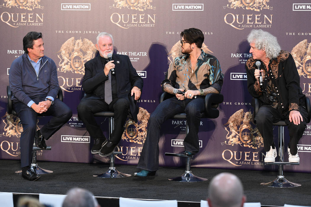 MGM Resorts President Bill Hornbuckle, Roger Taylor, Adam Lambert, Roger Taylor and Brian May, from left, are shown at MGM Resorts Aviation Hangar in Las Vegas during an announcement of Queen + Ad ...