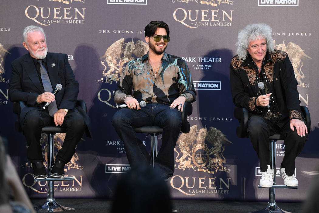 """Roger Taylor, Adam Lambert and Brian May, from left, are shown at MGM Resorts Aviation Hangar in Las Vegas during an announcement of Queen + Adam Lambert """"The Crown Jewels"""" residency at Park Theat ..."""