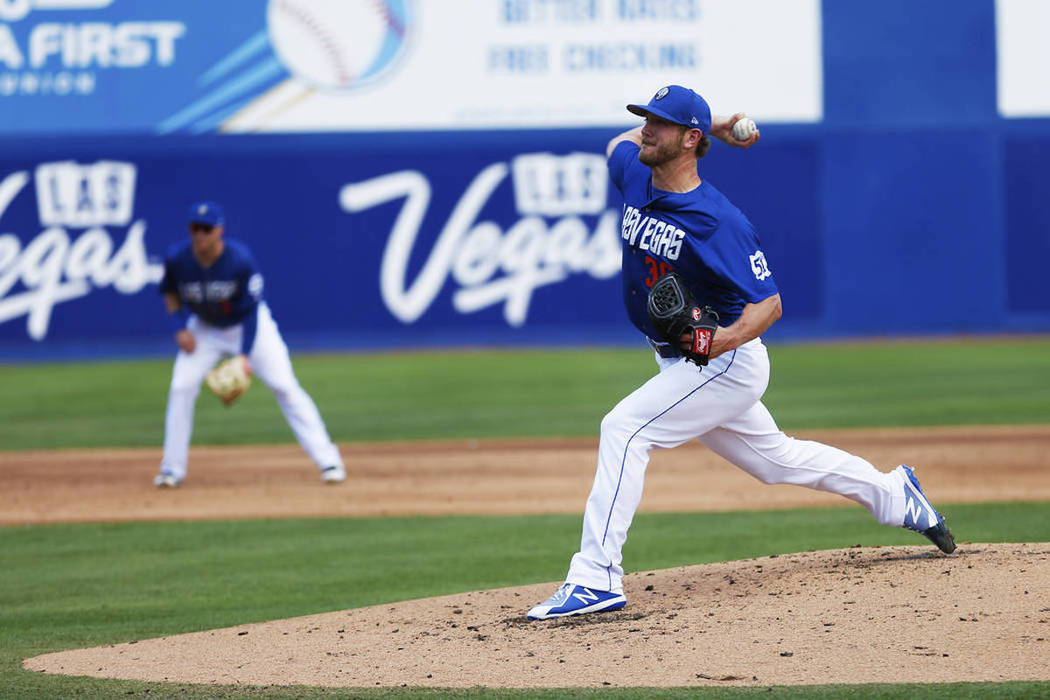 Las Vegas 51s' pitcher Drew Gagnon pitches against the Albuquerque Isotopes at Cashman Field in Las Vegas on Sunday, May 13, 2018. (Las Vegas Review-Journal)