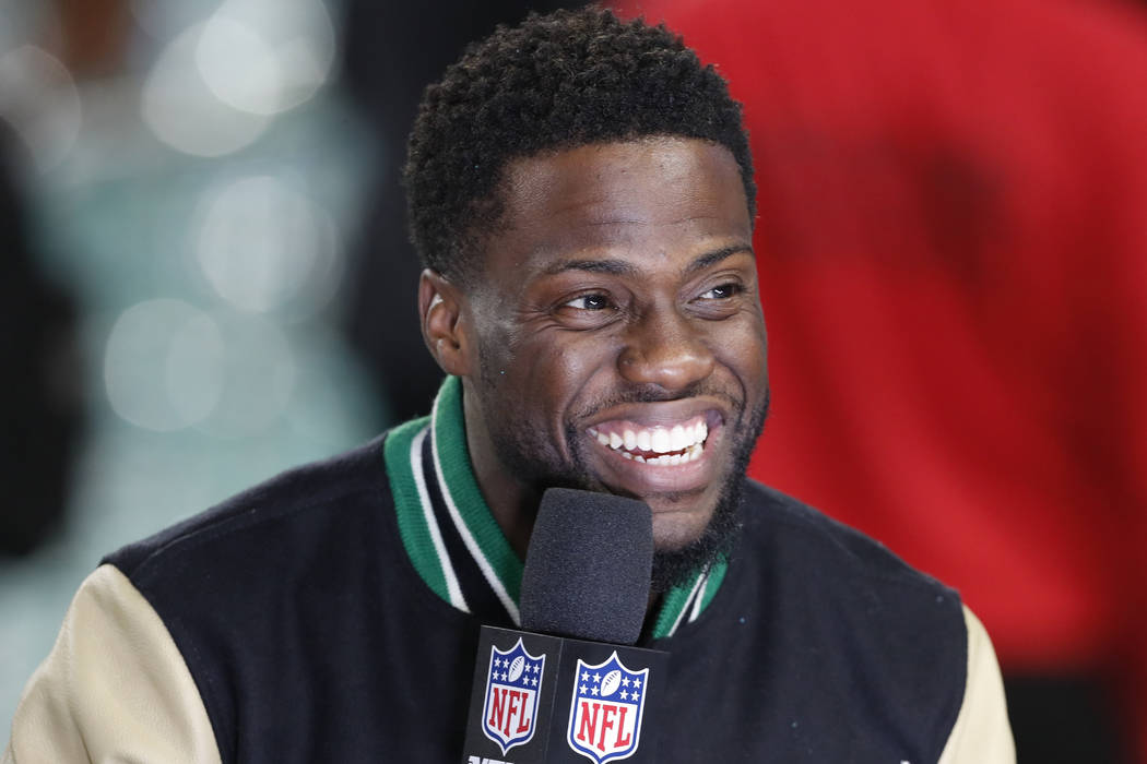 In this Feb. 4, 2018, file photo, Kevin Hart is interviewed after the Philadelphia Eagles defeated the New England Patriots in the NFL Super Bowl 52 football game in Minneapolis. The Professional ...