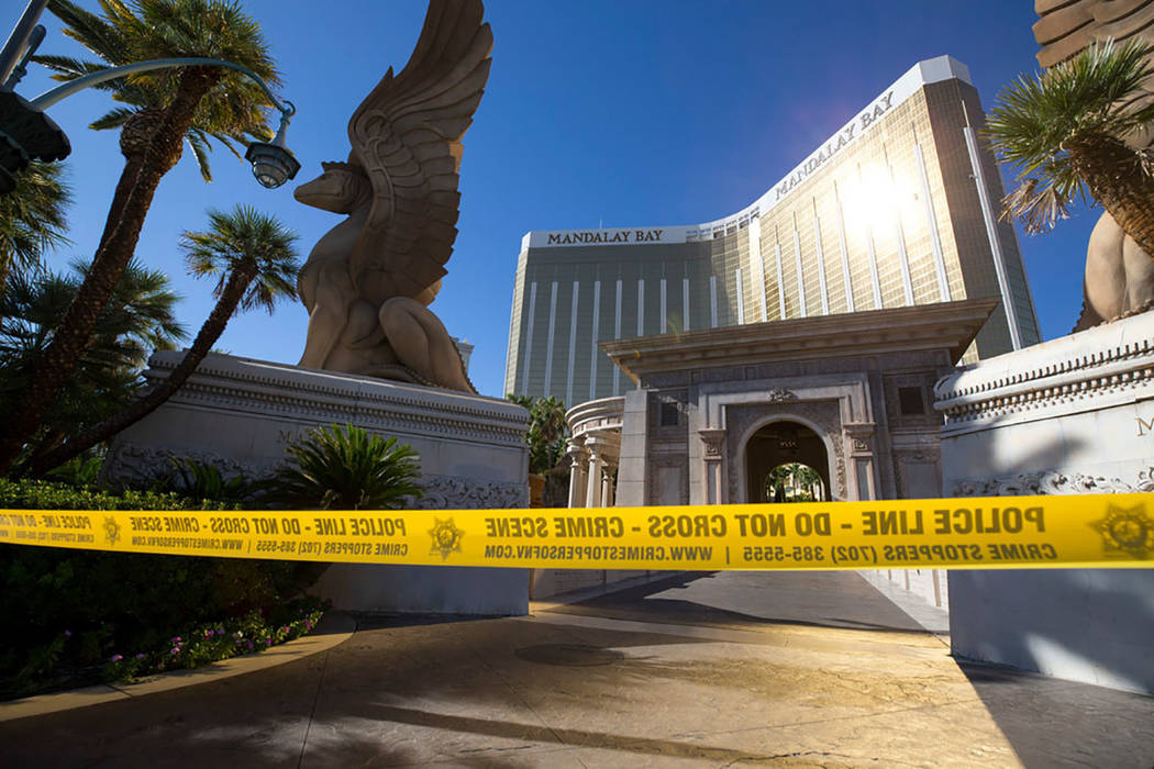 Mandalay Bay on Oct. 2, 2017, the day after the Route 91 Harvest festival shooting in Las Vegas. (Richard Brian/Las Vegas Review-Journal) @vegasphotograph