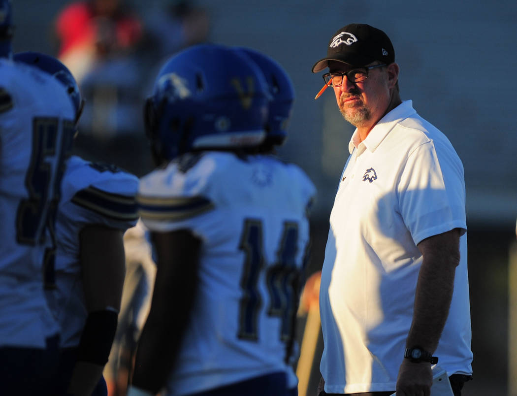 Sierra Vista head coach John Foss watches his team warm up before a game against Green Valley High School at Green Valley in Henderson on Friday, Aug. 31, 2018. Green Valley won 26-21. Brett Le Bl ...