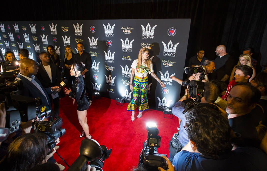 Paris Jackson poses on the red carpet ahead of the Michael Jackson 60th birthday celebration at Manalay Bay in Las Vegas on Wednesday, Aug. 29, 2018. Chase Stevens Las Vegas Review-Journal @csstev ...