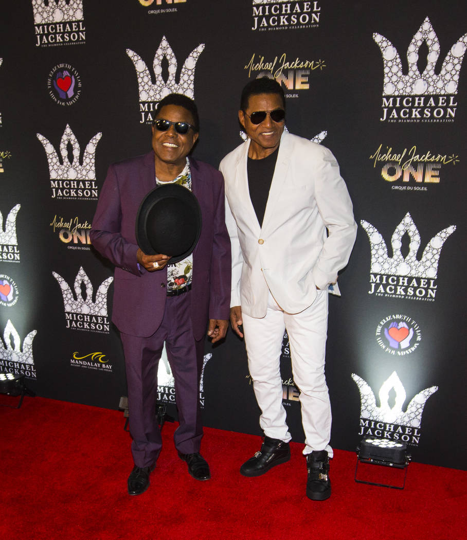 Tito Jackson, left, and Jackie Jackson pose on the red carpet ahead of the Michael Jackson 60th birthday celebration at Manalay Bay in Las Vegas on Wednesday, Aug. 29, 2018. Chase Stevens Las Vega ...