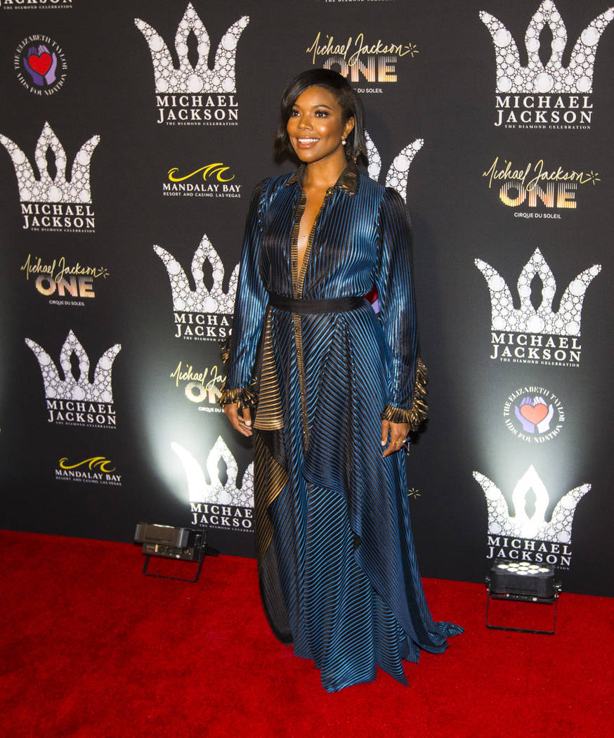 Gabrielle Union poses on the red carpet ahead of the Michael Jackson 60th birthday celebration at Manalay Bay in Las Vegas on Wednesday, Aug. 29, 2018. Chase Stevens Las Vegas Review-Journal @csst ...