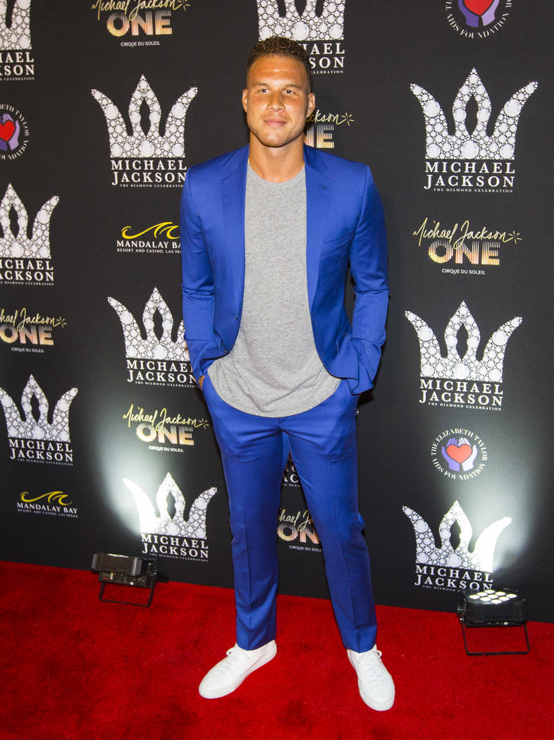 Detroit Pistons player Blake Griffin poses on the red carpet ahead of the Michael Jackson 60th birthday celebration at Manalay Bay in Las Vegas on Wednesday, Aug. 29, 2018. Chase Stevens Las Vegas ...