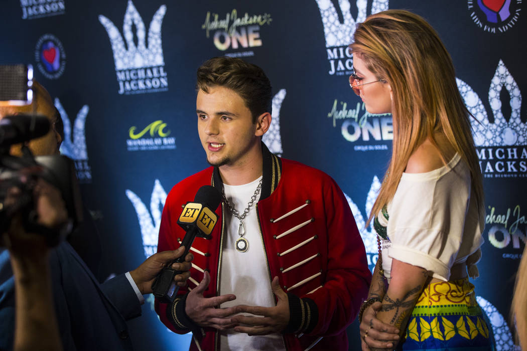 Prince Jackson, left, and Paris Jackson, children of Michael Jackson, are interviewed on the red carpet ahead of the Michael Jackson 60th birthday celebration at Manalay Bay in Las Vegas on Wednes ...