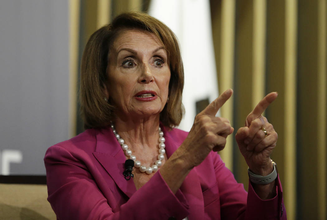 House Minority Leader Nancy Pelosi gestures while speaking at the Public Policy Institute of California Wednesday, Aug. 22, 2018, in San Francisco. (AP Photo/Eric Risberg)