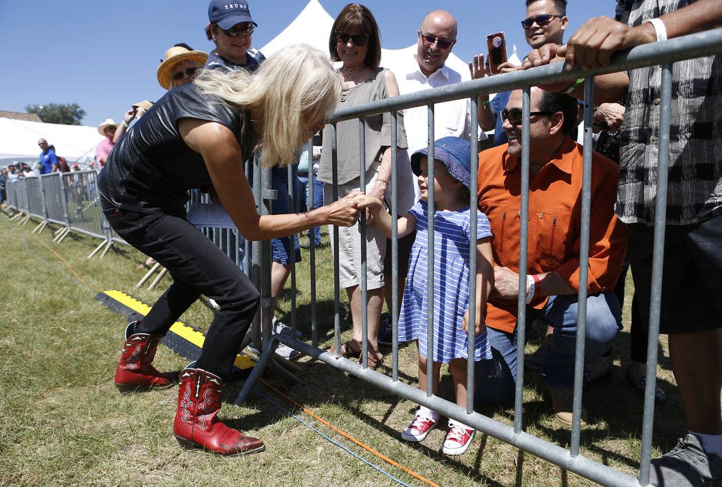 Kellyanne Conway greets supporters at the 4th annual Basque Fry in Gardnerville, Nev., on Saturday, Aug. 25, 2018. Hosted by the Morning in Nevada PAC, the event is a fundraiser for conservative c ...