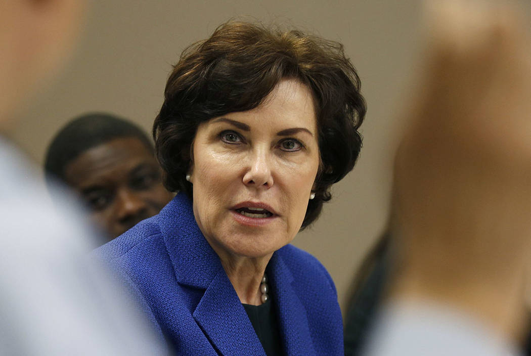 Rep. Jacky Rosen, D-Nev., speaks at a roundtable event at the Nevada Urban Chamber of Commerce, Wednesday, Aug. 29, 2018, in Las Vegas. (John Locher/AP)