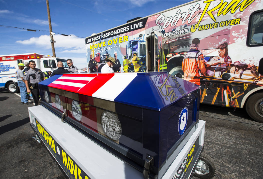 The ceremonial casket on display after the Spirit Ride ceremony at Big Valley Towing in North Las Vegas on Thursday, Aug. 30, 2018. The cross-country event, which promotes move over laws, pays tri ...