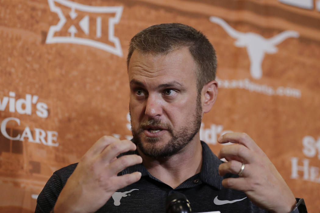 In this Aug. 2, 2018, file photo, Texas head coach Tom Herman responds to a question during an NCAA college football news conference, in Austin, Texas. (AP Photo/Eric Gay, File)