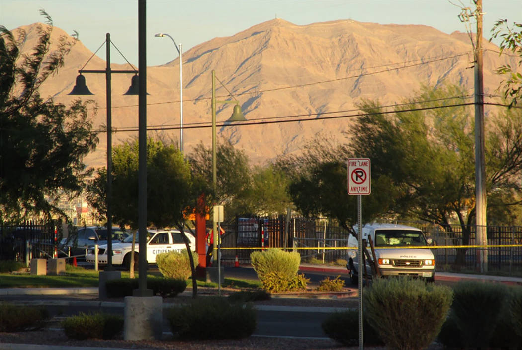 Police investigate a shooting at Craig Ranch Regional Park in North Las Vegas on Thursday, Aug. 30, 2018. (Greg Haas/Las Vegas Review-Journal)