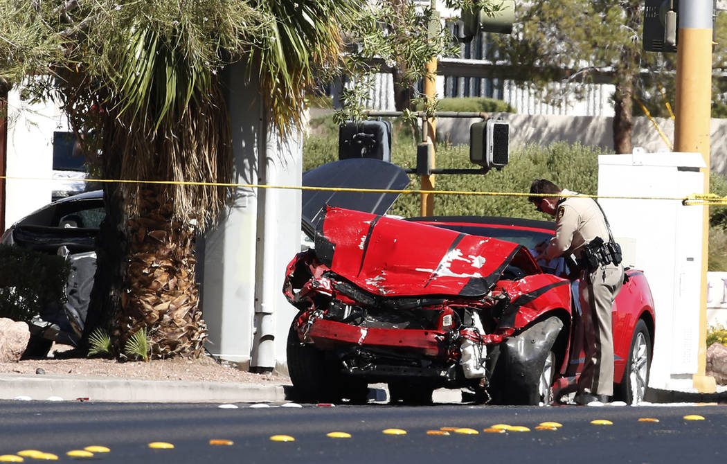 Las Vegas police are investigating a fatal three-vehicle crash at Eastern and Harmon avenues on Friday, Aug. 31, 2018, in Las Vegas. (Bizuayehu Tesfaye/Las Vegas Review-Journal) @bizutesfaye