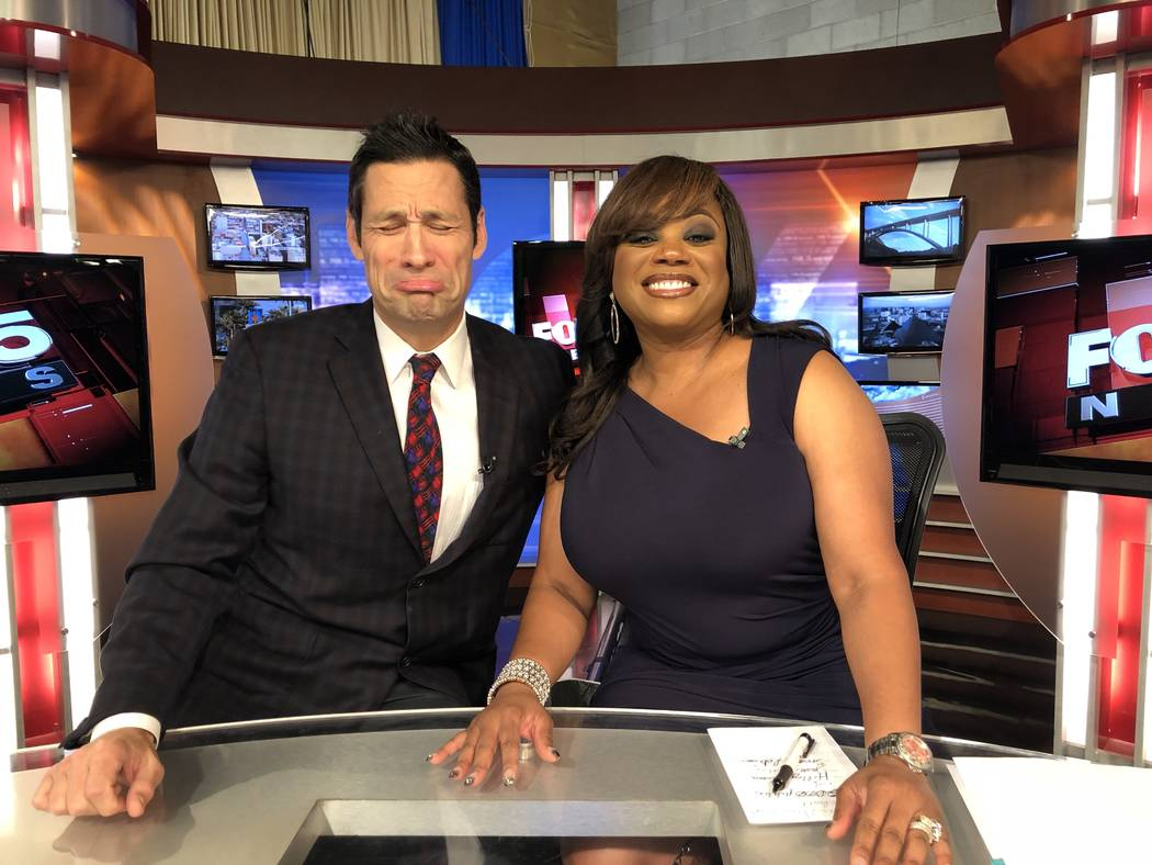 Jason Feinberg and Monica Jackson are shown on the Fox 5 news set on  Jackson's final