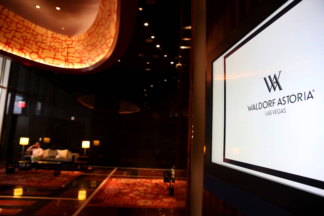 The ground floor lobby of the Waldorf Astoria on the first day for the new Las Vegas hotel formerly known as Mandarin Oriental on the Strip Friday, Aug. 31, 2018. K.M. Cannon Las Vegas Review-Jour ...