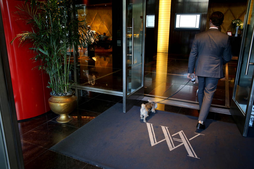 The Waldorf Astoria logo greets guests on the first day for the new Las Vegas hotel formerly known as Mandarin Oriental on the Strip Friday, Aug. 31, 2018. K.M. Cannon Las Vegas Review-Journal @KM ...