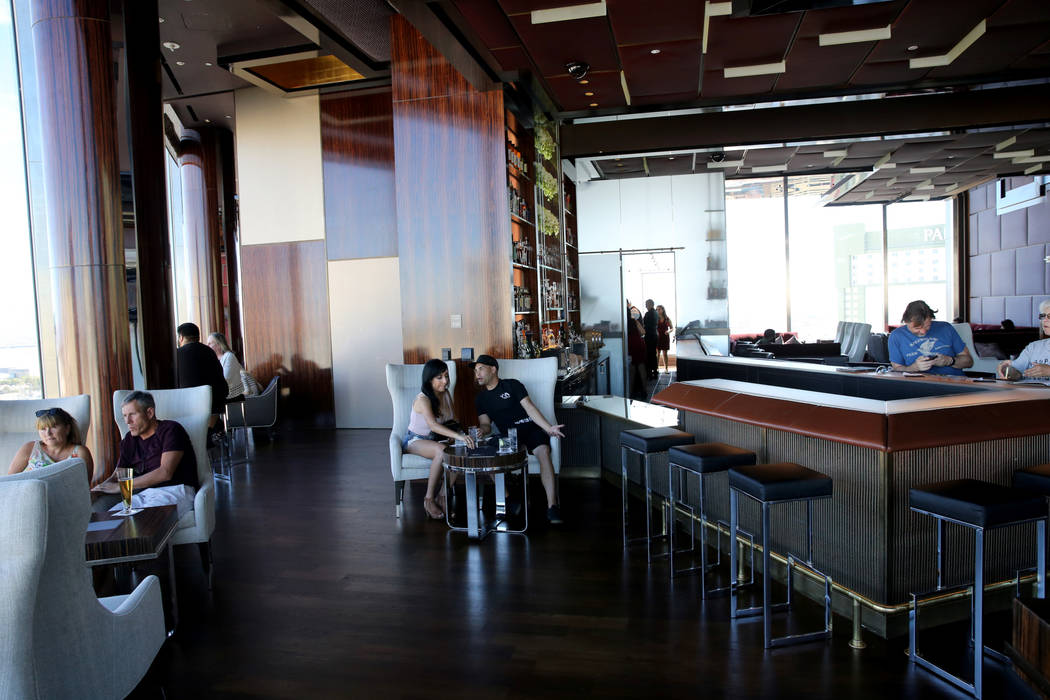 The Sky Bar at the Waldorf Astoria features new furniture on the first day for the new Las Vegas hotel formerly known as Mandarin Oriental on the Strip Friday, Aug. 31, 2018. K.M. Cannon Las Vegas ...