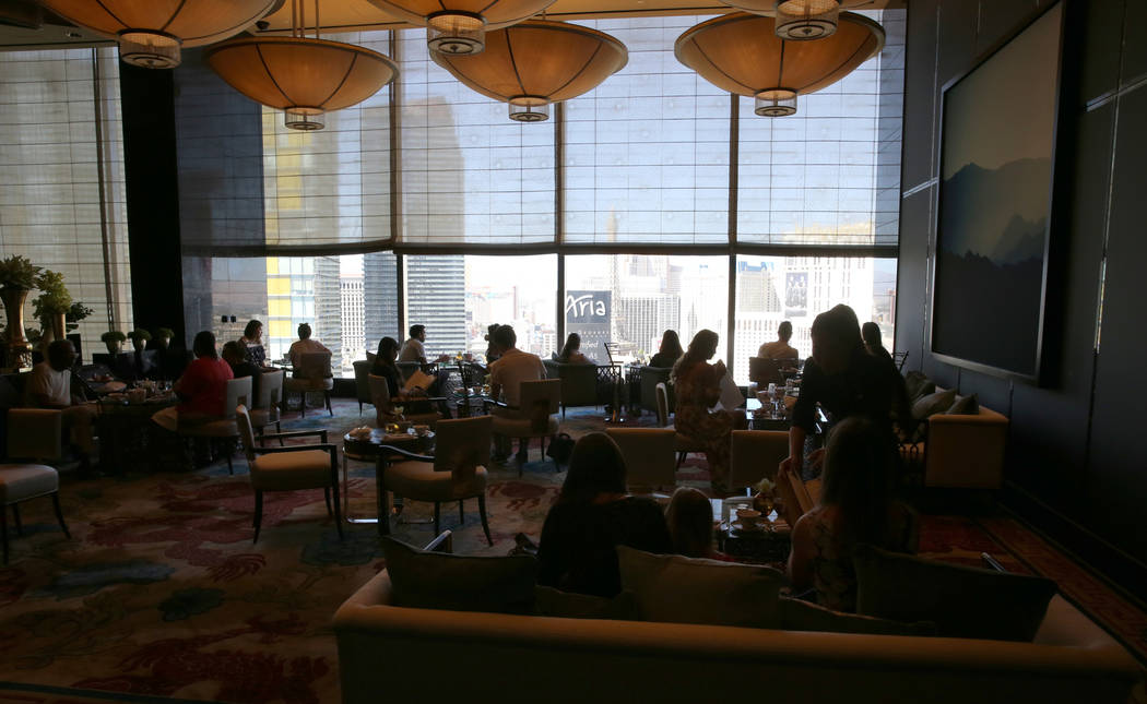 The Tea Lounge at the Waldorf Astoria features new furniture on the first day for the new Las Vegas hotel formerly known as Mandarin Oriental on the Strip Friday, Aug. 31, 2018. K.M. Cannon Las Ve ...