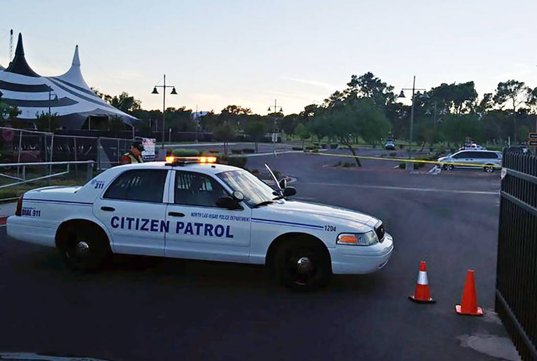 Police investigate a fatal shooting at Craig Ranch Regional Park in North Las Vegas on Thursday, Aug. 30, 2018. (Mike Shoro/Las Vegas Review-Journal)