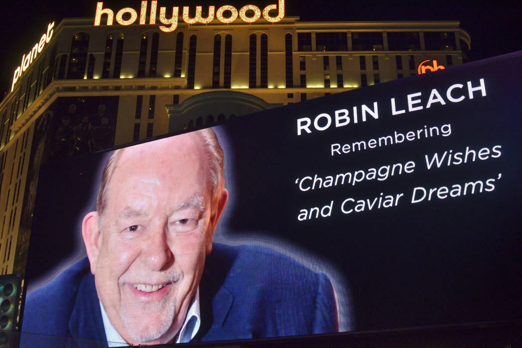 "A marquee honoring celebrity columnist and ""Lifestyles of the Rich and Famous"" host Robin Leach is shown at the Miracle Mile Shops at the Planet Hollywood hotel-casino at 3667 S. Las Vegas Blv ..."