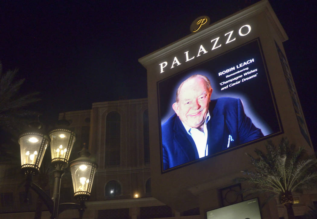 "A marquee honoring celebrity columnist and ""Lifestyles of the Rich and Famous"" host Robin Leach is shown at the Palazzo hotel-casino at 3325 S. Las Vegas Blvd. after his death at the age of 76 ..."