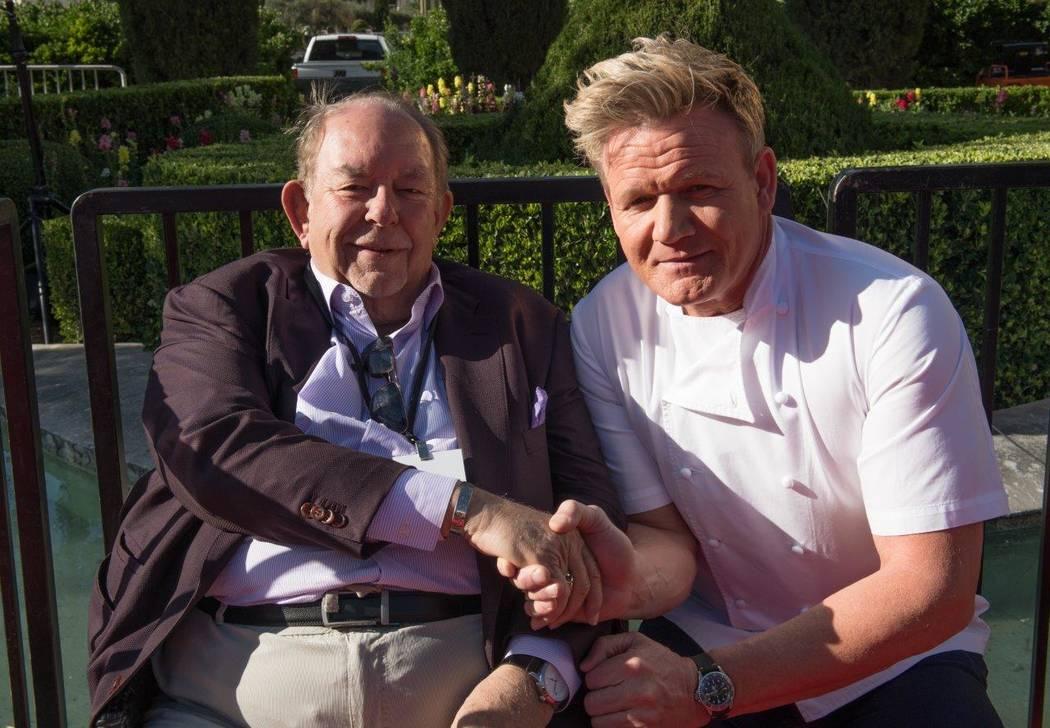 Gordon Ramsay with Robin Leach on Friday, April 28, 2017, in Las Vegas. (Tom Donoghue)