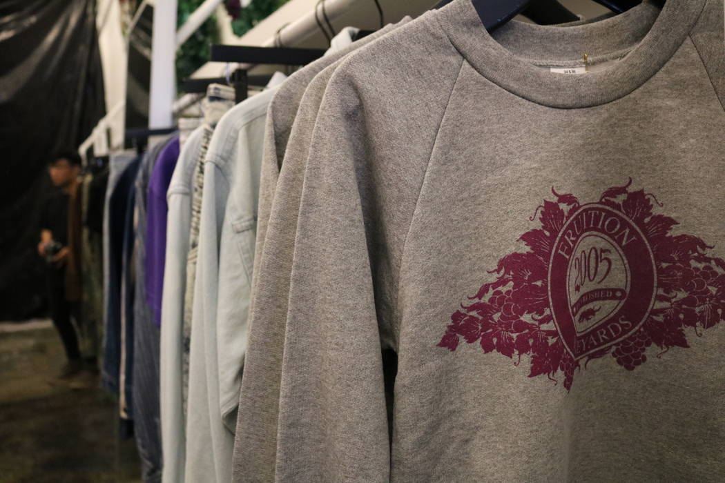 Sweaters with the Fruition logo hang on a rack at the store of the same name on South Maryland Parkway in Las Vegas, Saturday, April 28, 2018. The upscale streetwear store offers a monthly sale wh ...