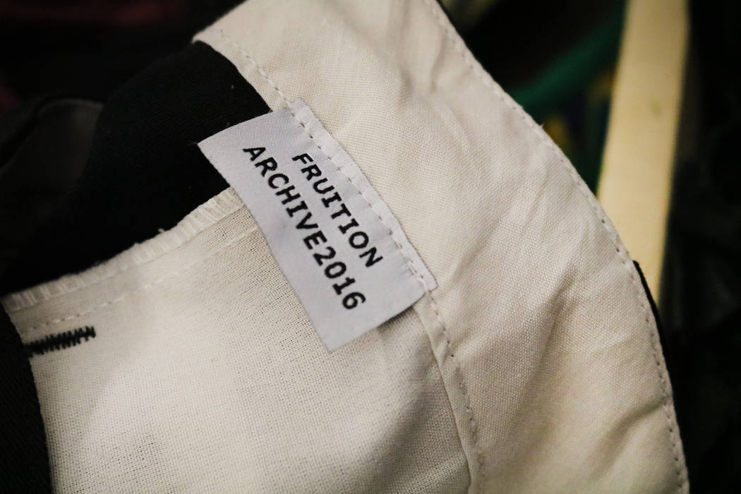 A shirt with a Fruition label hangs on a rack in the store of the same name on South Maryland Parkway in Las Vegas, Saturday, April 28, 2018. The upscale streetwear store offers a monthly sale whe ...