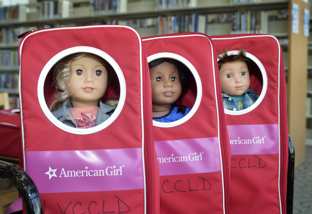 American Girl dolls are shown at the Windmill Library at 7060 W. Windmill Lane in Las Vegas on Thursday, July 26, 2018. The dolls are part of a toy lending program at the library. Bill Hughes/Las ...
