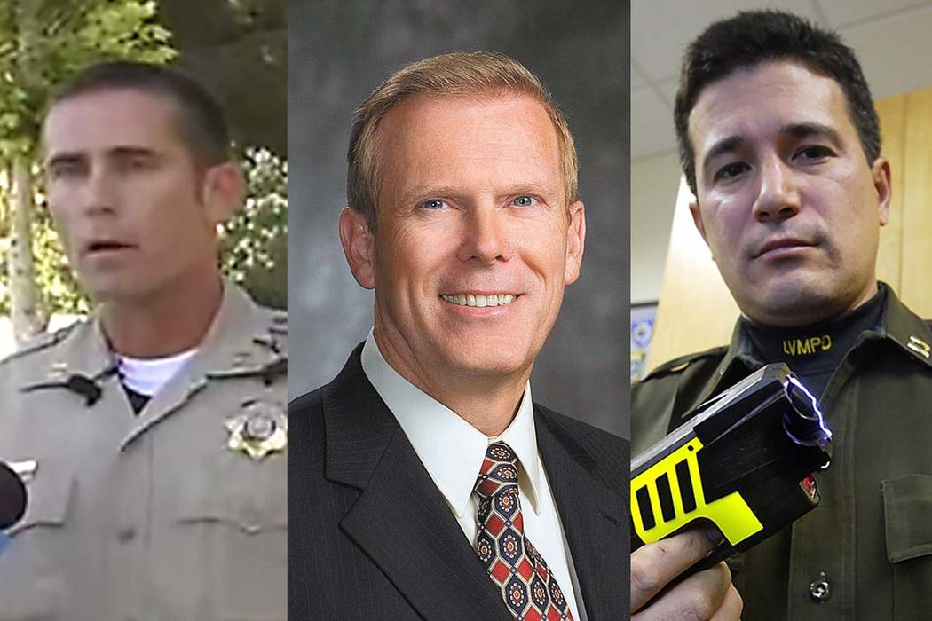 From left, former Metro Deputy Chief Patrick Neville, former Henderson City Manager Mark Calhoun and former Metro Deputy Chief Gary Schofield. (Las Vegas Review-Journal files)